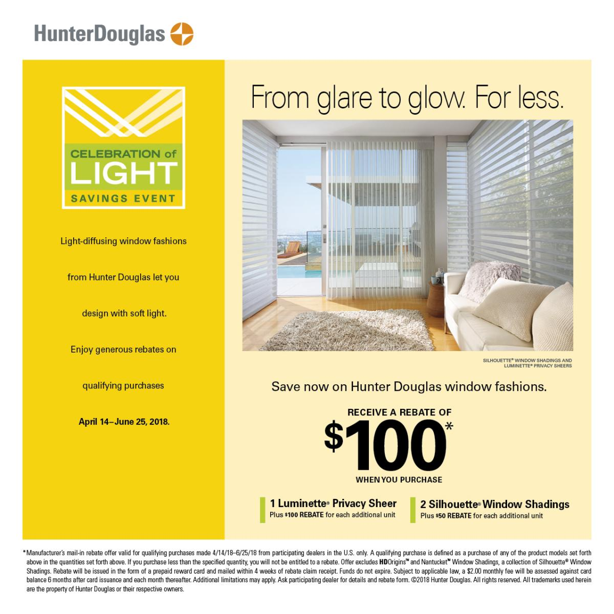 Hunter Douglas $100 Rebate