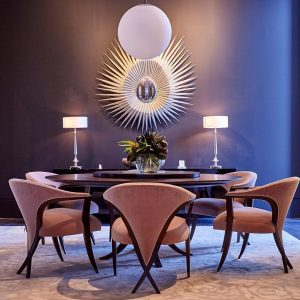 christopher guy dining room furniture round table and curved chairs